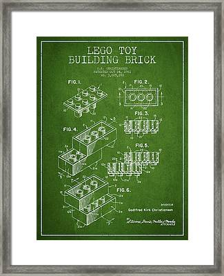 Lego Toy Building Brick Patent - Green Framed Print by Aged Pixel