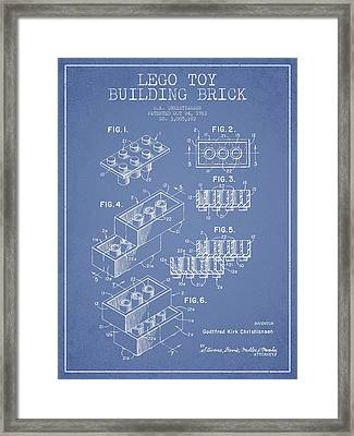 Lego Toy Building Brick Patent - Light Blue Framed Print by Aged Pixel