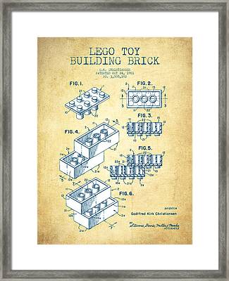 Lego Toy Building Brick Patent - Vintage Paper Framed Print by Aged Pixel