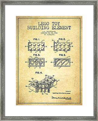 Lego Toy Building Element Patent - Vintage Framed Print by Aged Pixel