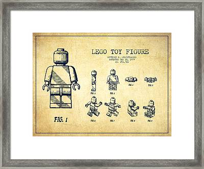 Lego Toy Figure Patent Drawing From 1979 - Vintage Framed Print by Aged Pixel