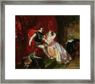 Leicester And Amy Robsart At Cumnor Framed Print by Edward Matthew Ward