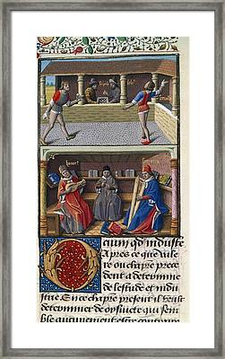 Leisure Pursuits, 15th-century Manuscript Framed Print by British Library