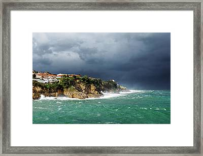 Lekeitio Coastline With Storm And Rough Sea Framed Print by Mikel Martinez de Osaba