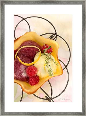 Lemon And Berry Sorbet  Framed Print by Iris Richardson