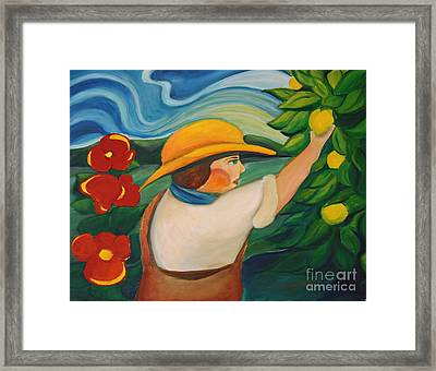 Lemon And Hibiscus Framed Print by Teresa Hutto