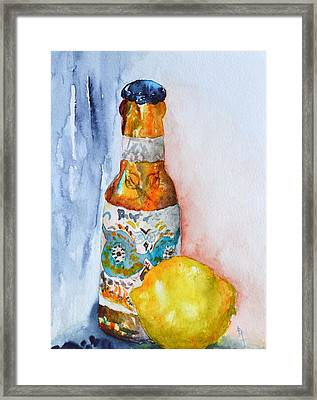 Lemon And Pilsner Framed Print by Beverley Harper Tinsley
