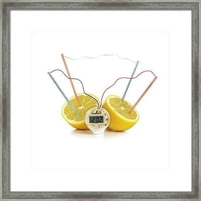 Lemon Clock Framed Print by Science Photo Library