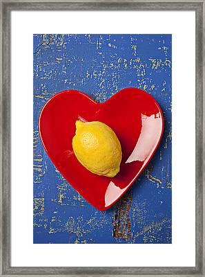 Lemon Heart Framed Print by Garry Gay