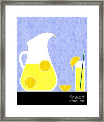 Lemonade And Glass Blue Framed Print by Andee Design