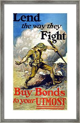 Lend The Way They Fight, 1918 Framed Print by Edmund Ashe