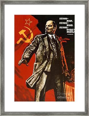 Lenin Lived Lenin Lives Long Live Lenin Framed Print by Viktor Semenovich Ivanov