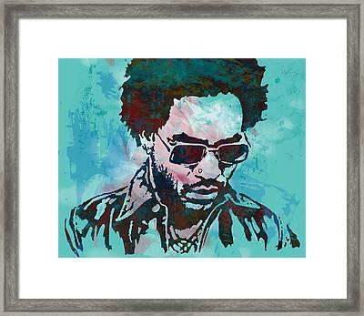 Lenny Kravitz - Stylised Etching Pop Art Poster Framed Print by Kim Wang