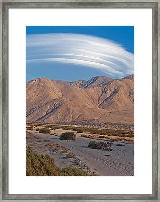 Lenticular Cloud Over Palm Springs Framed Print by Matthew Bamberg