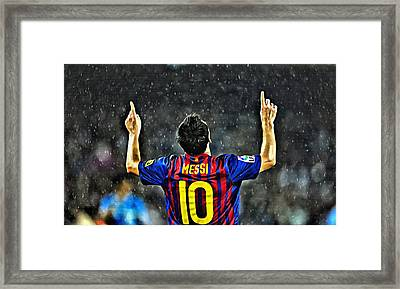 Leo Messi Poster Art Framed Print by Florian Rodarte
