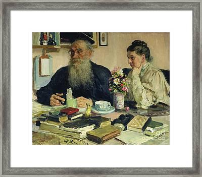 Leo Tolstoy With His Wife In Yasnaya Polyana Framed Print by Ilya Efimovich Repin