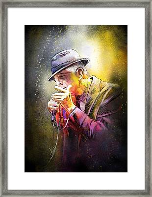 Leonard Cohen 02 Framed Print by Miki De Goodaboom