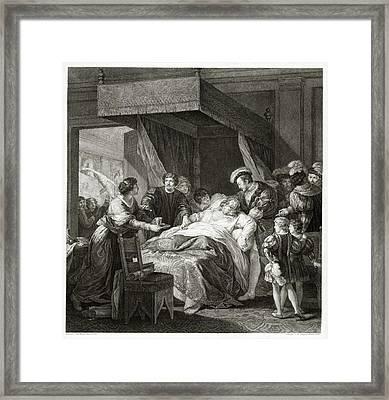 Leonardo Da Vicni On His Deathbed Framed Print by Library Of Congress