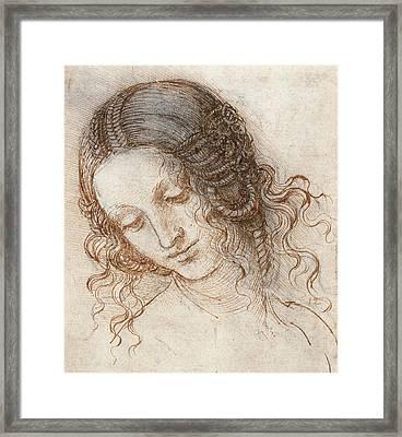 Leonardo Head Of Woman Drawing Framed Print by