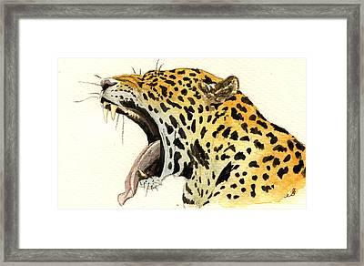 Leopard Head Framed Print by Juan  Bosco