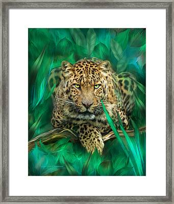 Leopard - Spirit Of Empowerment Framed Print by Carol Cavalaris