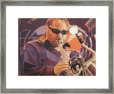 Leroi Moore Purple And Orange Framed Print by Joshua Morton