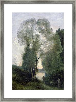 Les Baigneuses Framed Print by Jean Baptiste Camille Corot