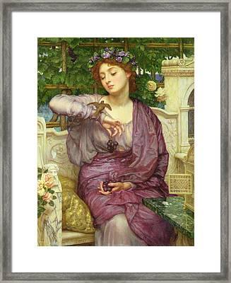 Lesbia And Her Sparrow Framed Print by Sir Edward John Poynter