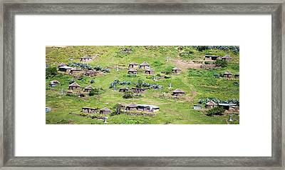 Lesotho Village On The Side Framed Print by Panoramic Images