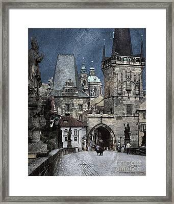Lesser Town Bridge Towers Framed Print by Pedro L Gili