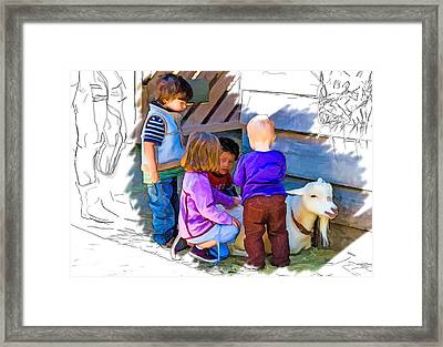 Lessons In Petting A Goat Framed Print by John Haldane