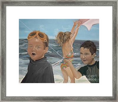 Beach - Children Playing - Kite Framed Print by Jan Dappen