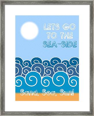 Lets Go To The Sea-side Minimalist Poster Framed Print by Celestial Images