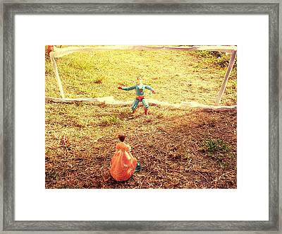 Let's Play Football Together Framed Print by Trav Shadows