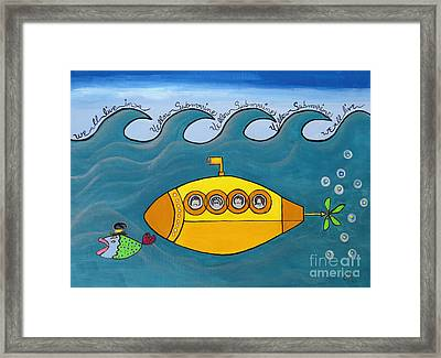 Lets Sing The Chorus Now - The Beatles Yellow Submarine Framed Print by Ella Kaye Dickey