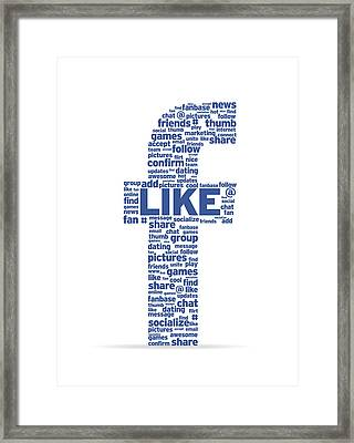 Letter F With Social Words Framed Print by Aged Pixel