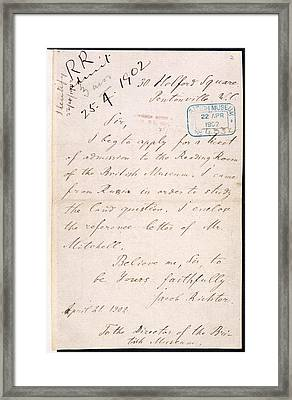 Letter Of Lenin Framed Print by British Library