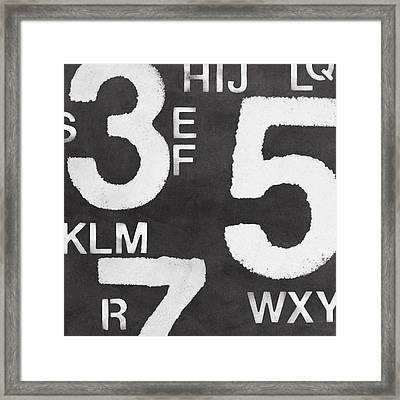 Letters And Numbers Framed Print by Linda Woods
