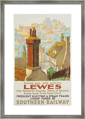 Lewes Poster Advertising Southern Railway Framed Print by Gregory Brown