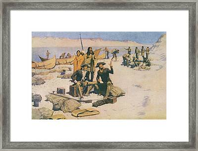 Lewis And Clark At The Mouth Of The Columbia River Framed Print by Frederic Remington