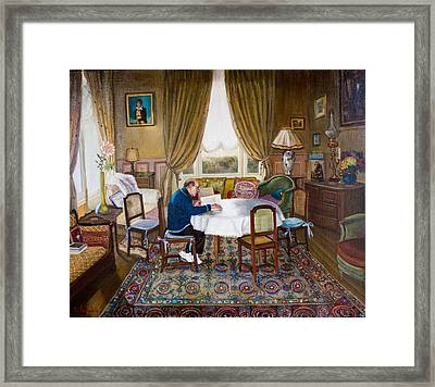 L'homme Qui Lit Framed Print by Dominique Amendola