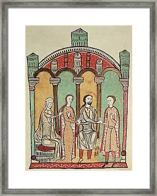 Liber Feudorum Marriage Scene Anon, Spanish School 12th Century Framed Print by .