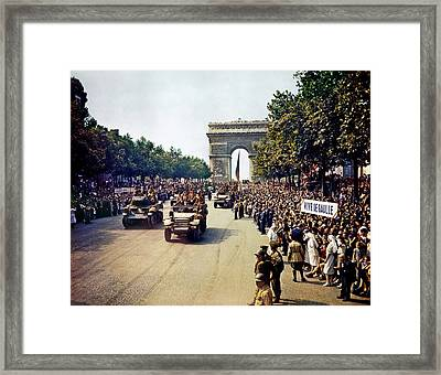 Liberation Of Paris In 1944 Framed Print by Mountain Dreams