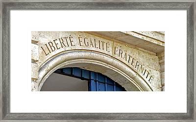 Liberte Egalite Fraternite Framed Print by Jean Hall