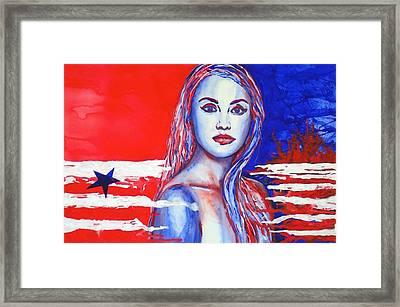 Liberty American Girl Framed Print by Anna Ruzsan