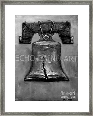 Liberty Bell - Gray With Logo Framed Print by Craig Green
