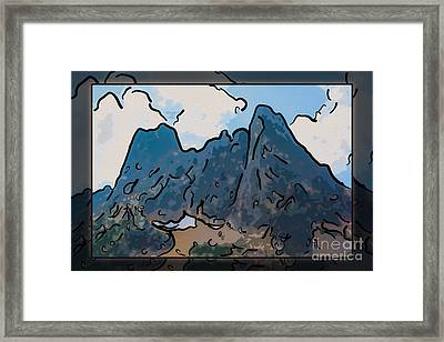 Liberty Bell Mountain Abstract Landscape Painting Framed Print by Omaste Witkowski