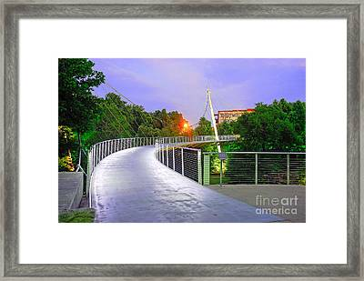 Liberty Bridge In Downtown Greenville Sc At Sunrise Framed Print by Willie Harper