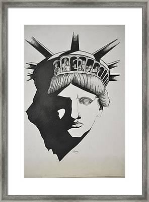 Liberty Head With People Framed Print by Glenn Calloway