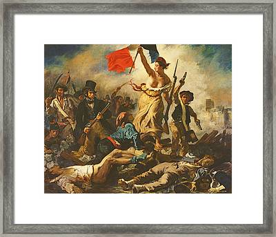 Liberty Leading The People, 28 July 1830 Framed Print by Ferdinand Victor Eugene Delacroix
